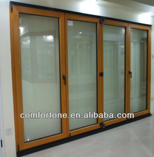 CE/CSA wood folding door with double glass