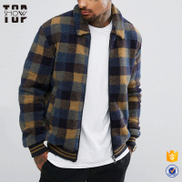 Winter cloths men bomber jacket custom winter jacket in check with zipper