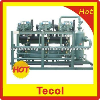 Bitzer screw compressor rack for refrigeration system
