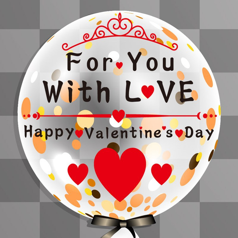 Happy Valentine's Day Letter Balloon Sticker With Transparent Clear Bubble Balloon For Valentine's Day Wedding Party Decoration