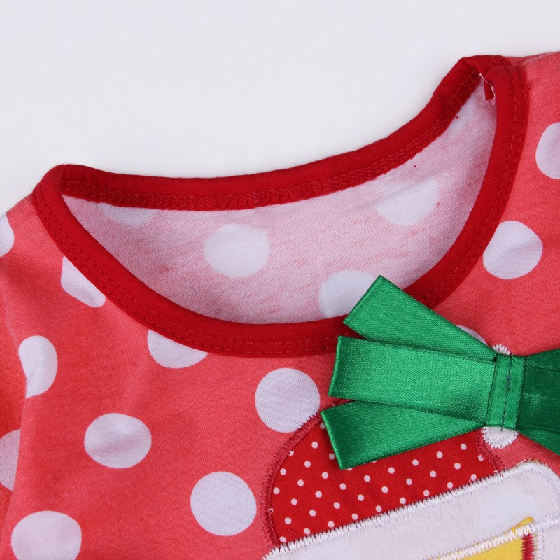2016 Baby Children Fashion Long Sleeve Dress Girl Red Clothes Christmas