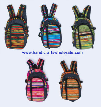 Colorful Sports Bags Handmade School Backpacks Affordable Unique Wool Knitting Rucksack Great Exotic Design Novelty Gift Ecuador
