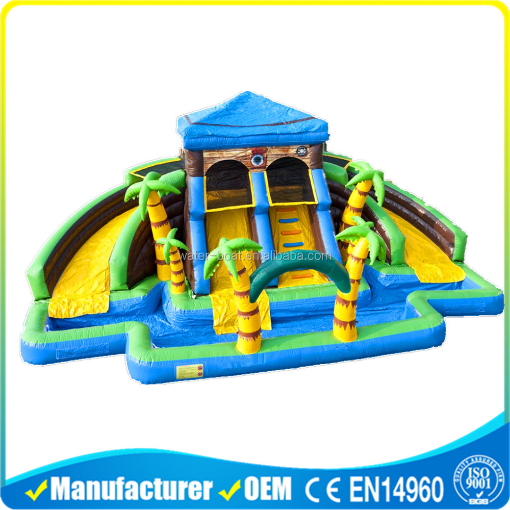 Commercial Inflatable pirate house water park slide for sale