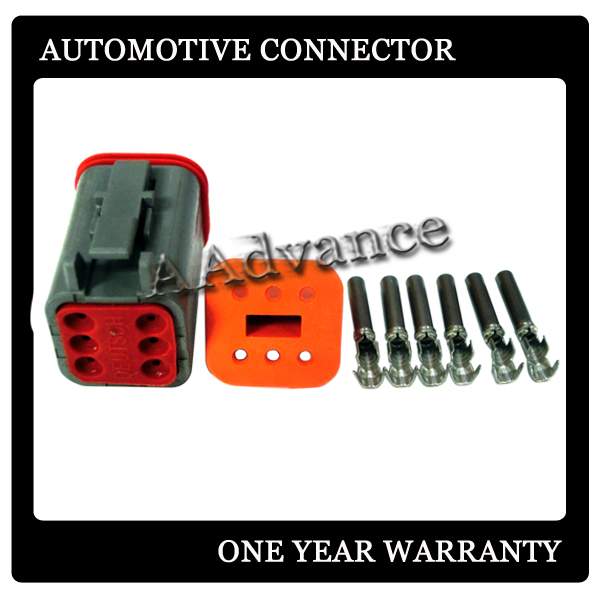 DEUTSCH GREY 6 PIN DT AUTOMOTIVE CONNECTOR KIT14-16 AWG CONNECTOR