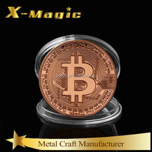 2018 New Europe Bitcoin Commemorative Coin Metal plating Copper Color Bitcoin with Plastic Box Packing