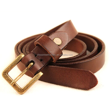 "factory wholesale 0.4"" wide antique brass pin buckle women adjustable leather belt"