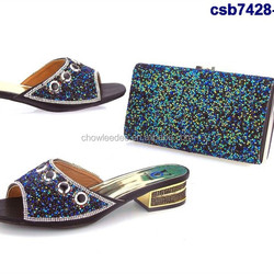 Nigeria ladies csb7428-1 shoes matching bag with colorful stones italian matching shoes and bag set