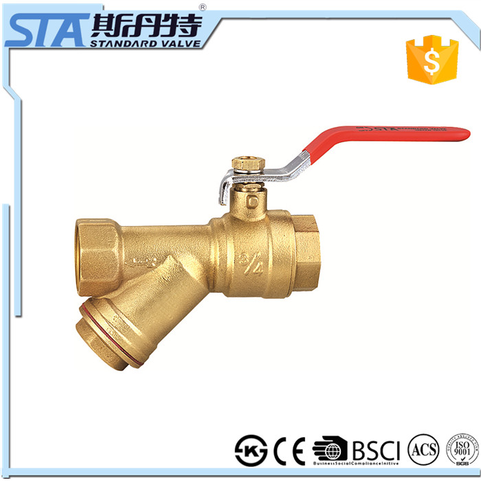 ART.1069 China manufacture new design female thread dn20 nickel plated Y type brass filter strainer ball valve with steel handle