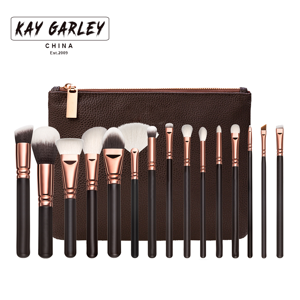 KAY GARLEY Luxury 15PCS Top Quality Synthetic Hair Cosmetic Brush Set With PU Leather Bag Rose Gold Private Label Makeup Brush