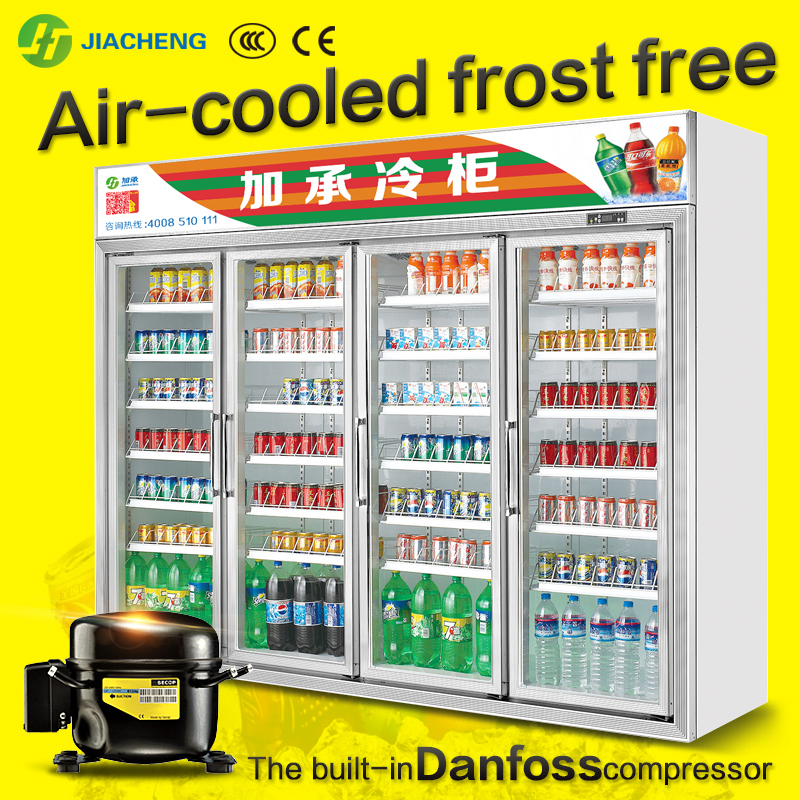 Jiacheng air cooled upright beverage display cooler chiller freezer refrigerator for energy drinks, four glass doors 3000L