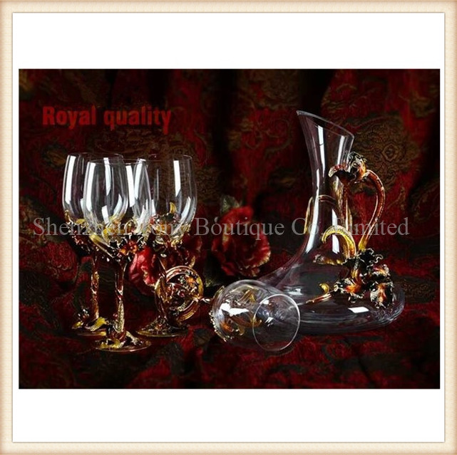 wholesale cheap crystal goblet lead-free wine glass / brandy glasses with hand painted colored enamel metal stem