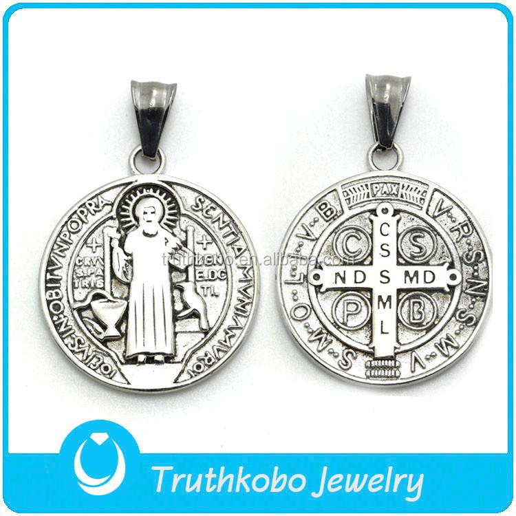 rosaries religious catholic pendant in stainless steel St. Benedict medal silver items the mysteries of the rosary