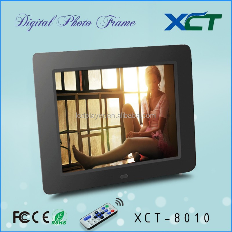 Wholesale bulk wall mounted gif lcd led 8 inch video loop electronic calender digital photo frame ce rohs XCT-8010