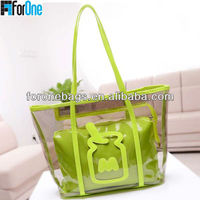 Fashion transparent clear beach cheap tote bag