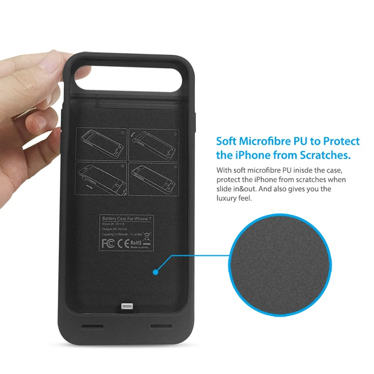 3100mah 120% more power mfi certified battery charger case for iPhone 7