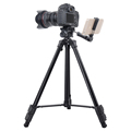 Light camera tripod with phone holder, mount adapter