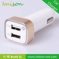 For iPad iPhone Dual 2 Port USB Mini Car Charger