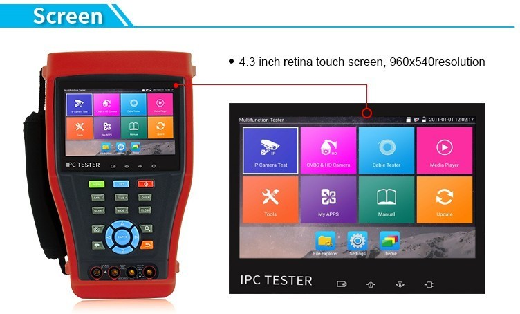 Newest 4K AHD TVI CVI IP Camera android OS H.265 CCTV tester
