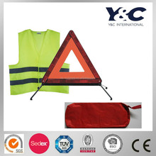 car emergency tool kit, warning triangle and vest