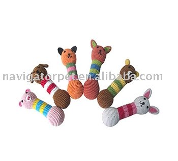 Colorful Pet Crochet Toy,Crochet Animal Sticks