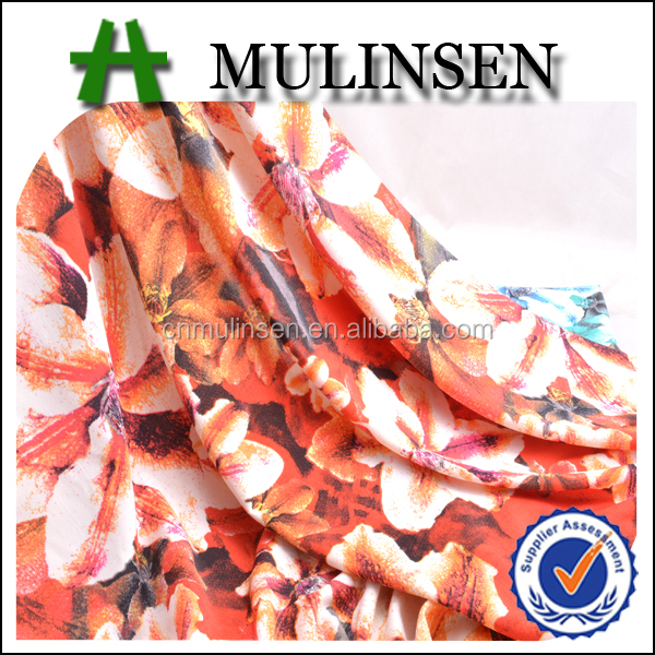 2017 SS Mulinsen Textile Knitting 4 Way Stretch 94 Polyester 6 Spandex Printed Fabric Flowers for Dresses