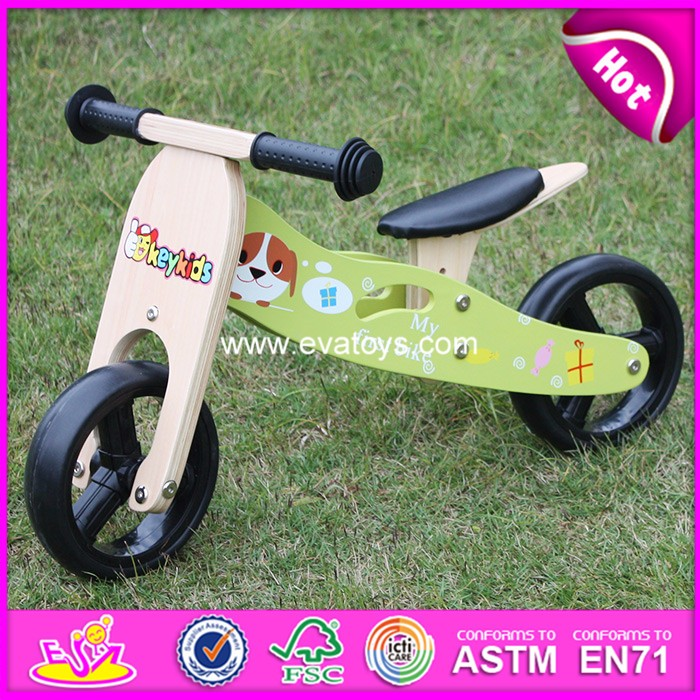 2018 hot sale kids wooden bicycle,popular wooden balance bicycle,new fashion kids bicycle W16C174
