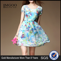 MGOO OEM Services Cheap Women Casual Summer Dress Clothes Made In China Blue Floral Print Dress K071556