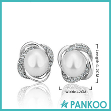 925 Silver Zircon Twist Pearl Stud Earings Eardrop Dangle Hoop