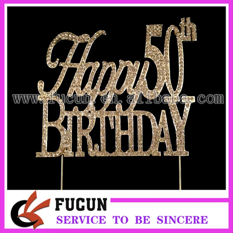 Large Sparkling gold Rhinestone 50th Happy Birthday Cake Topper