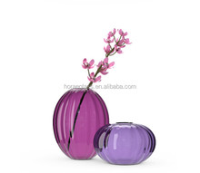Purple round shape glass vase for centerpiece decoration vase flower vase