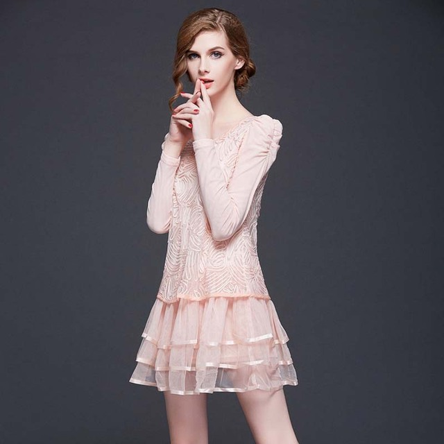 WAT1128 Autumn fashion lady tutu dress embroidery lace long-sleeved pink dress for women