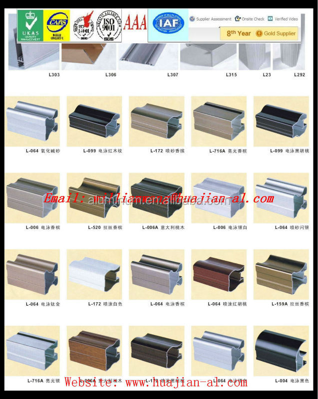 hualu brand 6063-T5 aluminum extrusion profile for windows and doors on hot sales