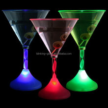 food grade hot sale FLASHING tall transparent bar party COCKTAIL GLASS