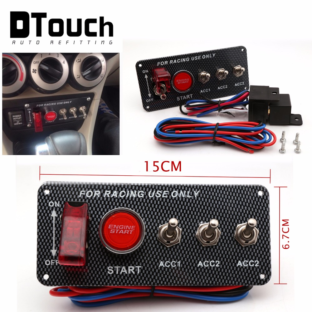 Wholesale sales Racing Car 12V Ignition 3 Switch Panel Engine Start Push Button LED Toggle Red auto switches