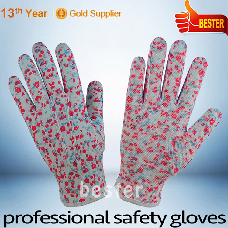 Zhongshan manufactory hotsale cotton gloves red pvc dotted