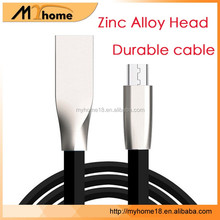Hot Sell Metal head USB Charge flat cable 3D Zinc Alloy Micro USB Data Cable for Samsung S7 S6 edge