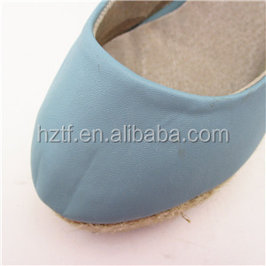 Blue nubuck women high heel wedge style stock