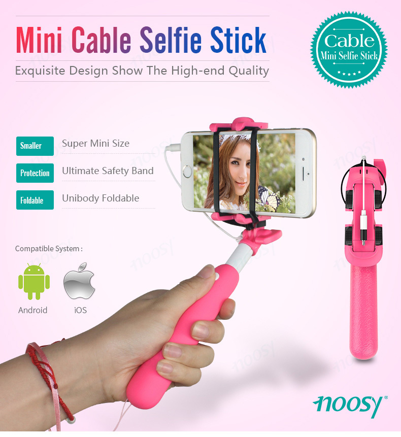 noosy 2017 new selfie stick cable super mini monopod selfie stick buy selfie stick mini selfie. Black Bedroom Furniture Sets. Home Design Ideas