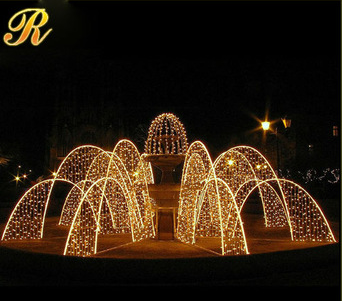 Metal led light wedding arch for stage decoration