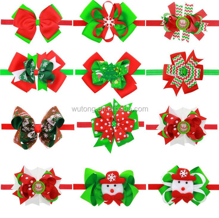 Christmas Grosgrain Ribbon bow Headbands Infant Baby crochet Headwear messy bow headband For Kids Hair Accessories