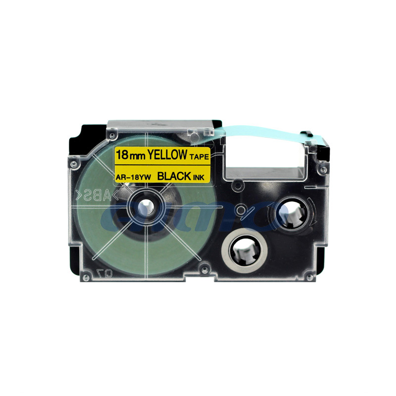 Top Quality Label Printer Black On Yellow Plastic Labels,For Casio Label Tape 18Mm