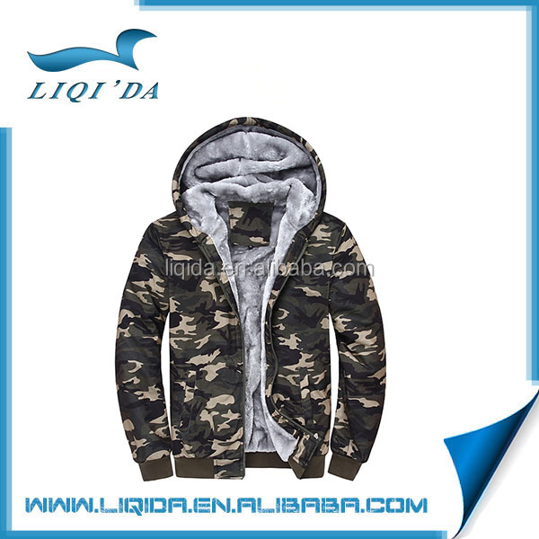 2016 Custom mens camo cotton polyester thick hoodie for winter