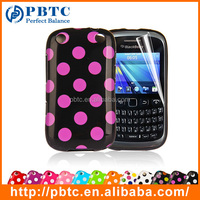 Set Screen Protector And Case For Blackberry 9320 , Polka Dots Gel TPU Back Case Cover For Smartphone