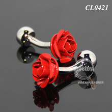 3D Red Rose Shaped Sleeve Shirt Enamel Cuff Links For Party Fashion Alloy Silver Metal Souvenir Wedding Cufflinks