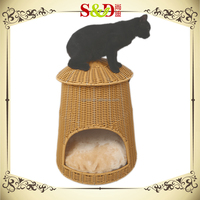 2016 new design rattan woven round cover cat house dog house pet cage