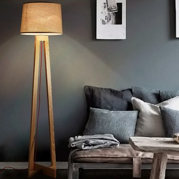 Modern Wood Floor Standing Lamps Fabric Lampshade Cord Wooden Tripod