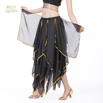 Black chiffon belly dancing skirt,belly dancing costumes,BellyQueen