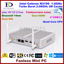 Kingdel Fanless Cheap Mini Desktop Celeron Quad Core N3150 Computer Win Linux All Support working with touch screen monitor