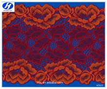 2016 Hongtai fashion design red/orange knitted elastic cotton lace trimmings
