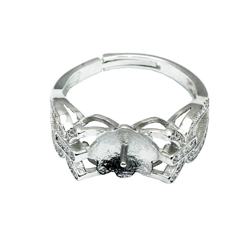 Beadsnice ID30619 925 sterling bezel cup adjustable base US size 7 to 9 9x8mm sold by PC silver ring sets